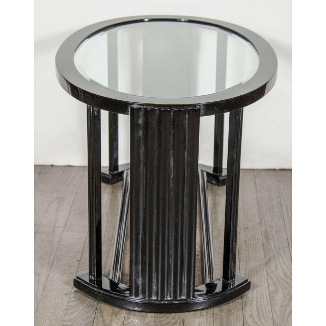 Art Deco Bauhaus Style Cocktail or Occasional Table in Black Lacquer and Glass For Sale - Image 4 of 8