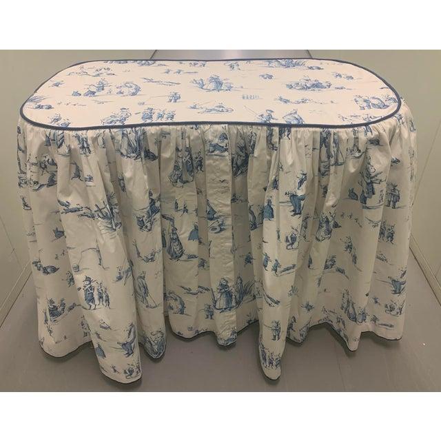 Custom Brunschwig & Fils Fabric Skirted Vanity Table For Sale - Image 12 of 12