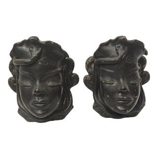 Antique 1920s Art Deco Egyptian Revival Black Clay Wall Hangings - a Pair Mask Wall Pockets For Sale