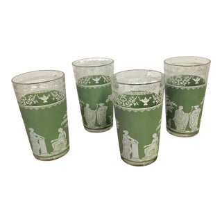 Mid-Century Wedgwood Jasper Ware Grecian Hellenic Motif Drinking Glasses - Set of 4 For Sale
