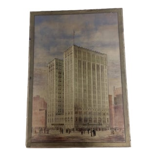 Vintage Watercolor Architectural Painting For Sale