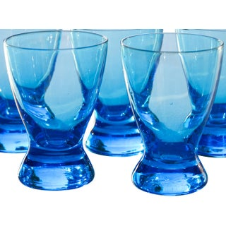 Midcentury Blue Shot Glasses, S/5 Preview