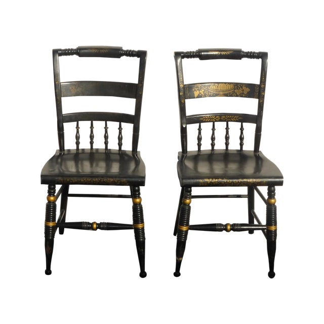 Black Vintage Spindle Back Windsor Chairs - A Pair - Image 1 of 11