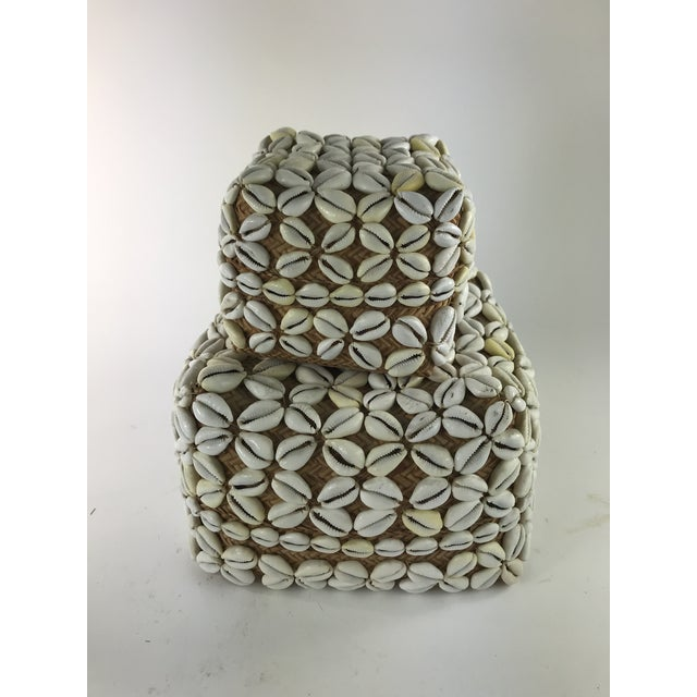 Gray 1970s Vintage Cowrie Shell Covered Baskets - A Pair For Sale - Image 8 of 10