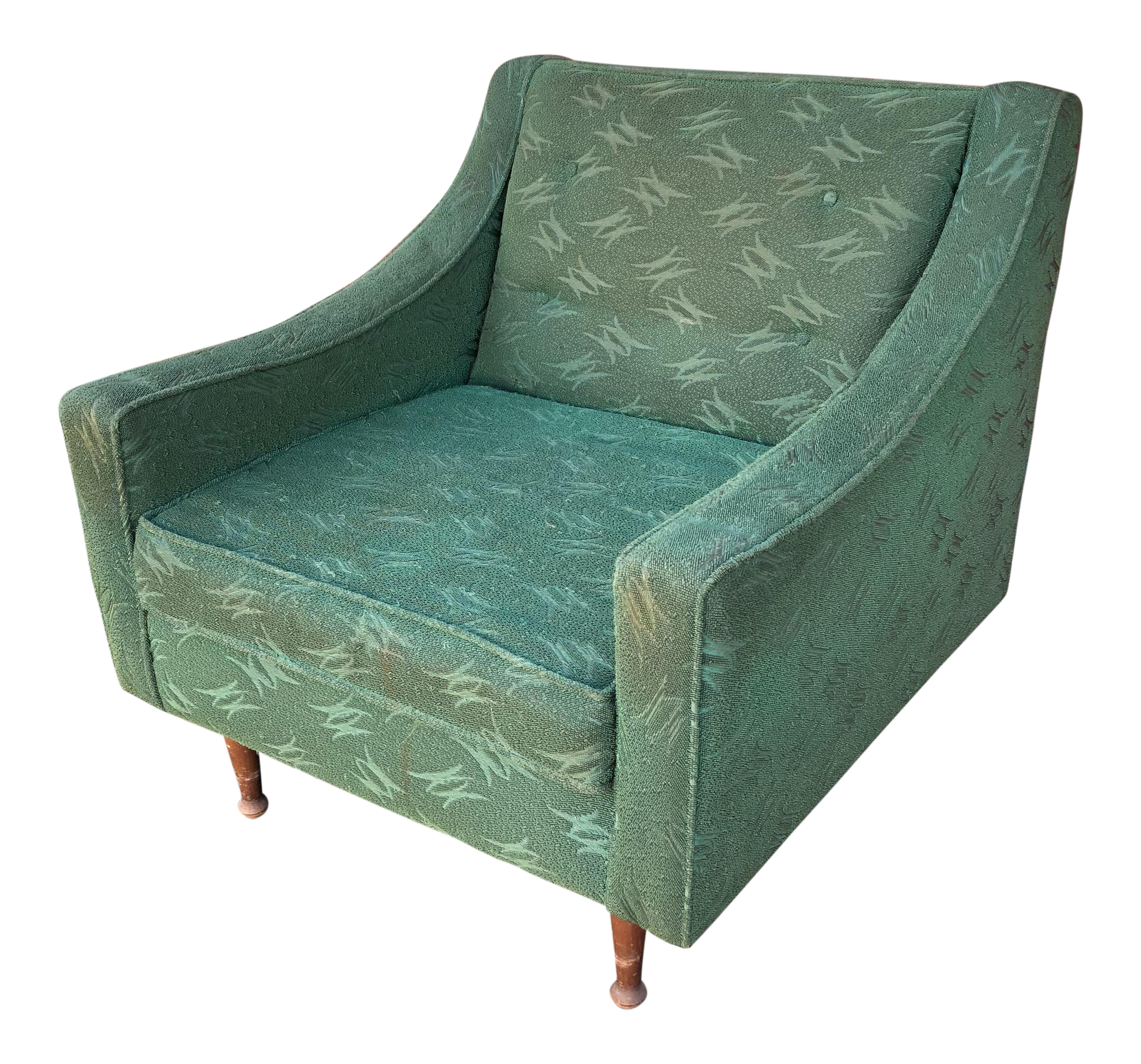 Beau Mid Century Modern Green Upholstered Club Chair For Sale