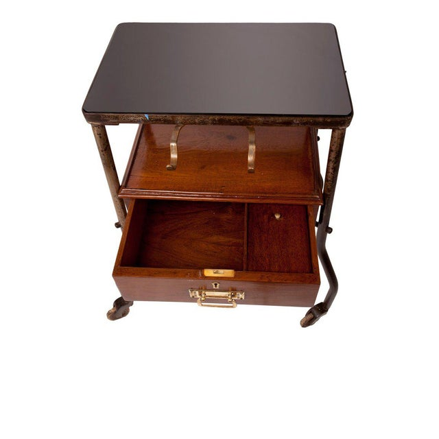 Mid-Century Modern Ship's Teak and Smoked Glass Medical Trolley, Mid-1900s For Sale - Image 3 of 10