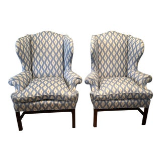 Brunschwig & Fils Upholstered Ralph Lauren Wingback Chairs - a Pair