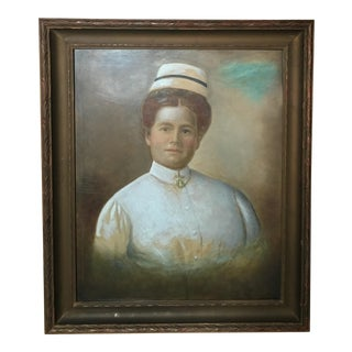 Late 19th Century Antique Large Framed Pastel Portrait of a Nurse Painting For Sale