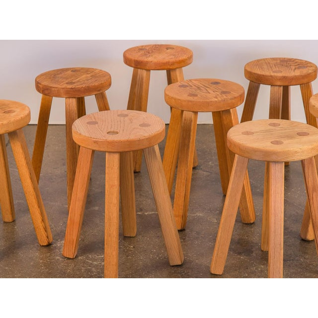 Farmhouse Vintage American Craft Oak Stools For Sale - Image 3 of 7