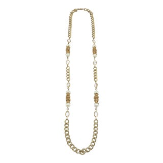 1950s Miriam Haskell Pearl & Gilt Filigree Chain Necklace For Sale