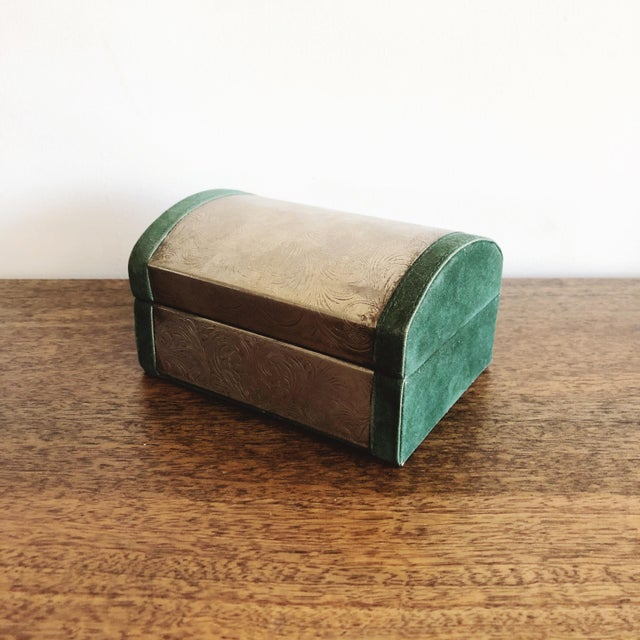 Rustic Embossed Tin and Green Velvet Box For Sale - Image 3 of 7