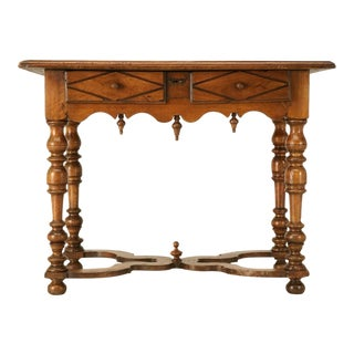18th C. Antique French Fruitwood Writing Table with Drawer For Sale