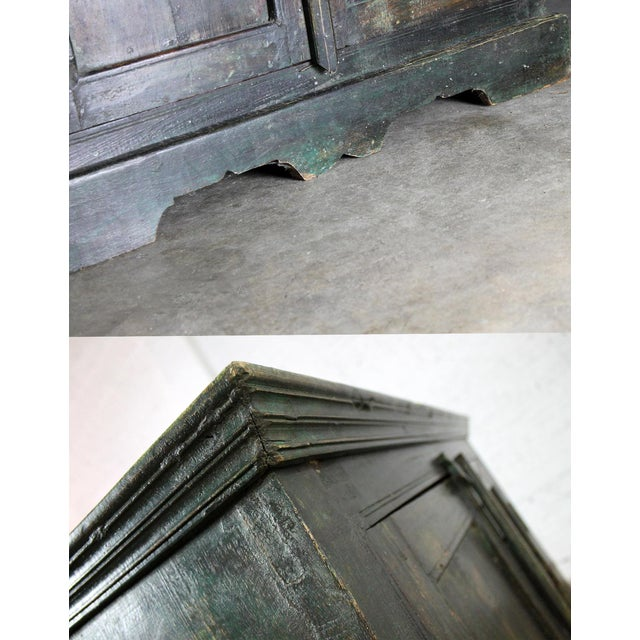 Rustic Primitive Cupboard Storage Cabinet with Distressed Paint For Sale - Image 9 of 11