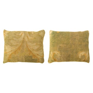 """Antique Art Deco European Savonnerie Carpet Pillows With Floral Design, and With Green Floral Brocade Backing, 20""""x18""""/ 24""""x20"""" - a Pair For Sale"""