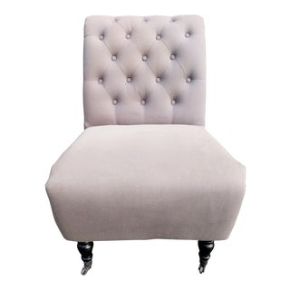 Tufted Gray Slipper Chair For Sale