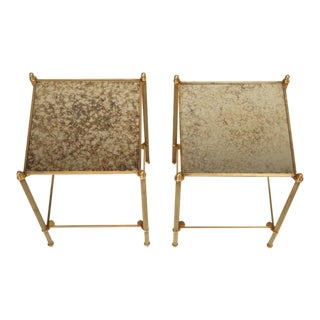 French Two-Tier Matched Bronze End Tables - a pair