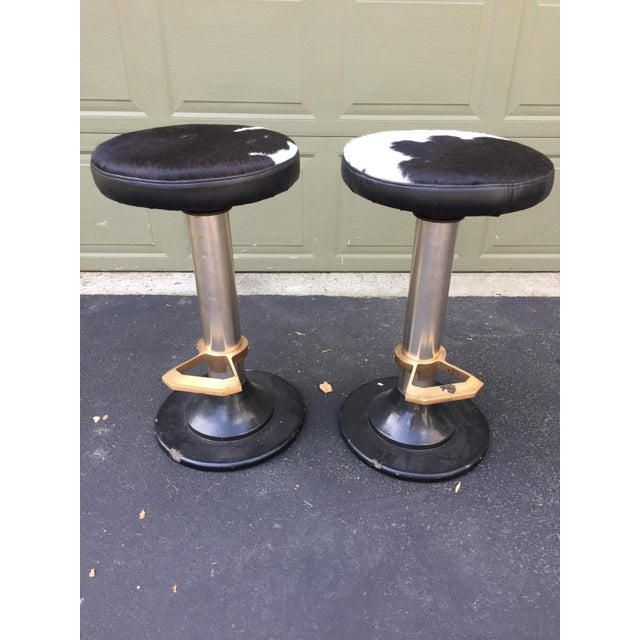 Cowhide Deco Style Bar Stools - a Pair - Image 3 of 11