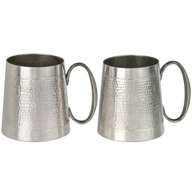 Vintage Malaysian Hammered Pewter Mugs - a Pair - Image 1 of 3