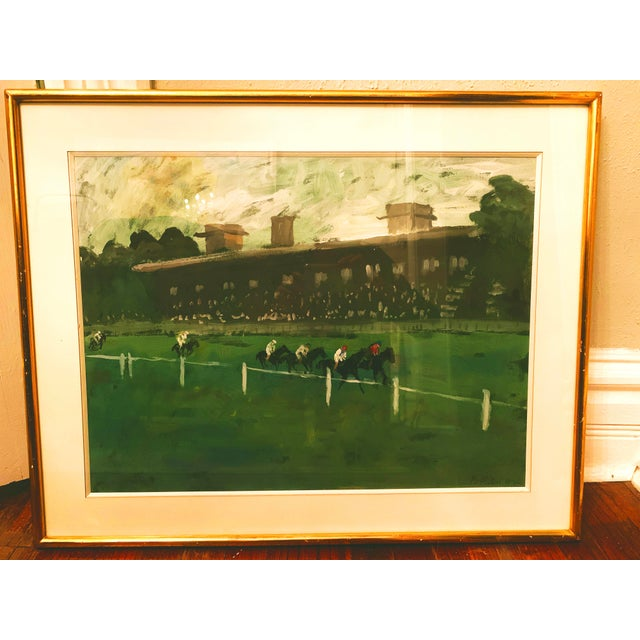 1970s Horse Race on the Green Track Framed Original Painting Signed by the Artist For Sale - Image 13 of 13