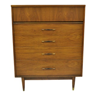 Vintage Mid Century Modern Laminate Top Walnut High Chest Tall Dresser For Sale