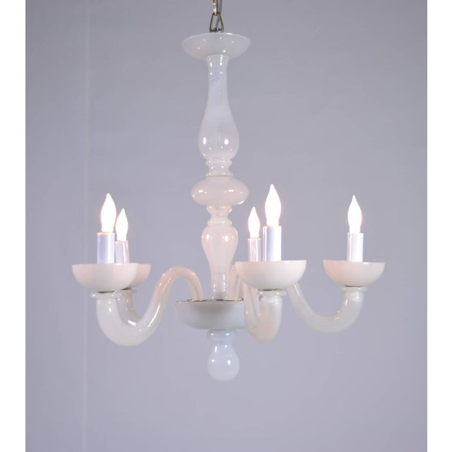 A charming Murano pearly opalescent chandelier. Five arms, all newly wiring.