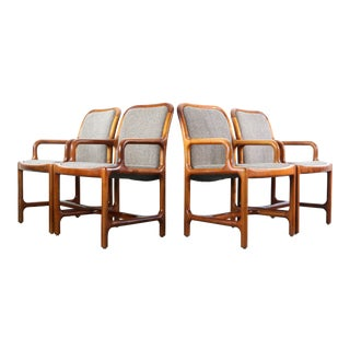 1960s Mid Century Modern Pretzel Chairs in Oak and Original Tweed - Set of 4 For Sale