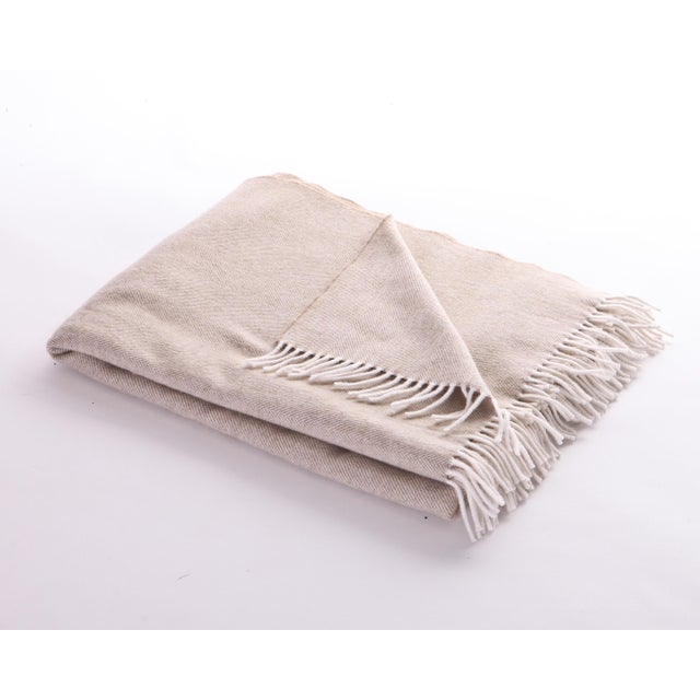 Contemporary Basswood Herringbone Cove Throw For Sale - Image 3 of 3