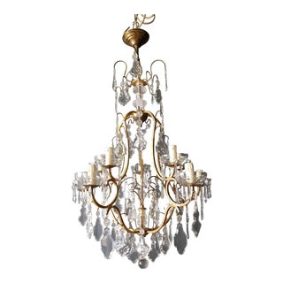 Crystal Chandelier Antique Ceiling Lamp Lustre Art Nouveau Lamp Rarity, 1930 For Sale