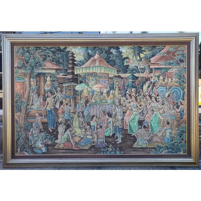 Circa 1970 Balinese Ubud Marketplace Scene Painting on Canvas by K. Nana For Sale - Image 4 of 4