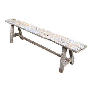 Vintage Weathered Rustic Wooden Bench For Sale