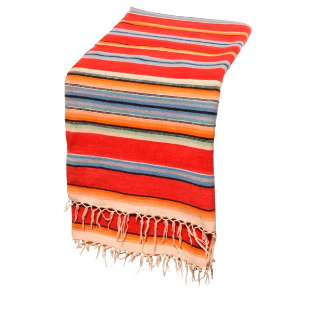 Boho Chic Vintage Mexican Saltillo Serape Throw For Sale - Image 3 of 5