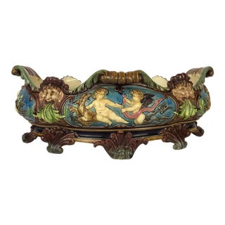 Antique Glazed Majolica Footed Bowl For Sale
