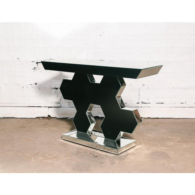"""Cool 70's vintage mirrored console table. Size: 31 1/2"""" H x 47 1/4"""" W x 14"""" D Year: 1970-1980 Status: Good condition"""