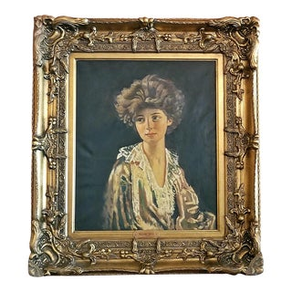"""Lady Evelyn Herbert"" Oil Painting on Canvas After Sir William Orpen For Sale"