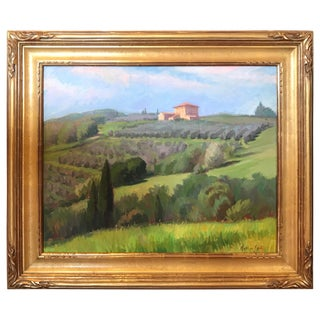 Arthur Egeli Oil Painting on Canvas, Tuscan Landscape, 20th Century For Sale