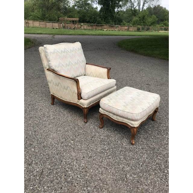 Traditional French Provincial Lounge Chair and Ottoman For Sale - Image 9 of 9