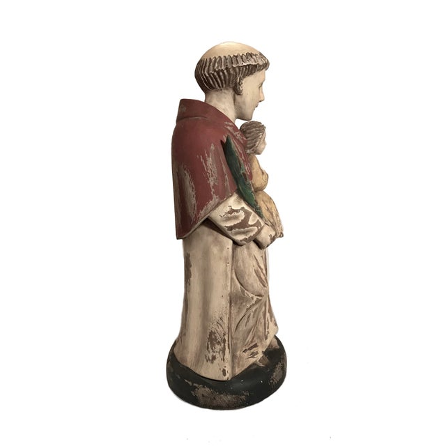 "Tall and substantial 17.5"" Spanish Carved Wooden Sculpture of Saint Anthony Holding Baby Jesus. Beautifully hand carved..."