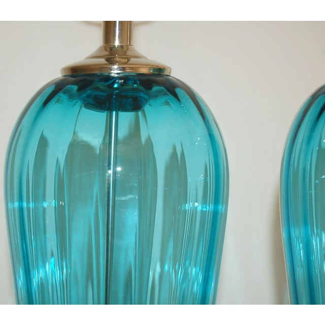 Joe Cariati Glass Table Lamps Blue For Sale In Little Rock - Image 6 of 8