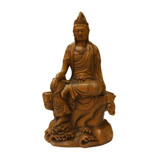 Chinese Carved Wood Sitting Kwan Yin Bodhisattva Statue For Sale