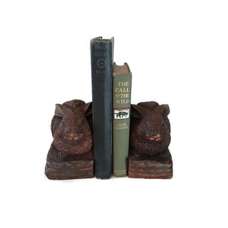 Vintage Cast and Stained Resin Rabbit Bookends - a Pair Preview