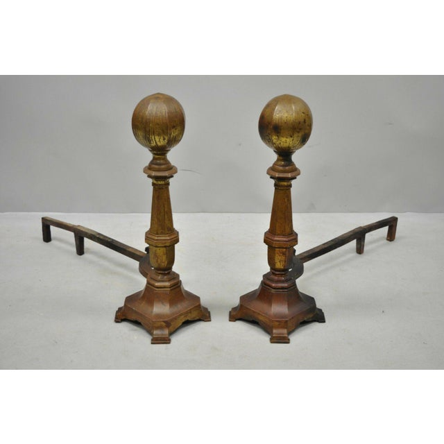 19th Century American Federal Brass Cannonball Andirons - a Pair For Sale - Image 9 of 9