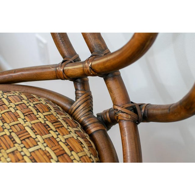 Boho Chic Vintage Mid-Century Twisted Wood Rattan Stools - A Pair For Sale - Image 3 of 10