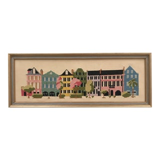 "1960's Framed ""Townhouse Row"" Needlepoint Art For Sale"