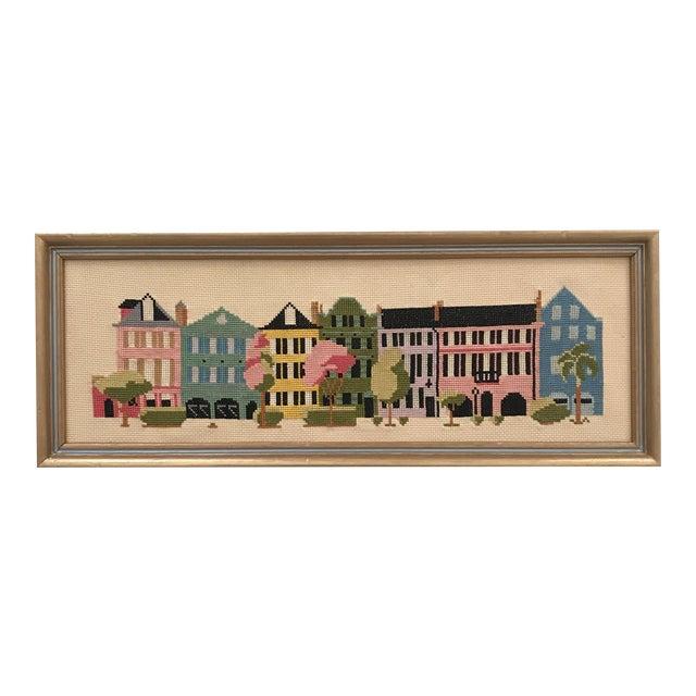 """Mid-Century """"Rainbow Row"""" Framed Needlepoint Art For Sale"""