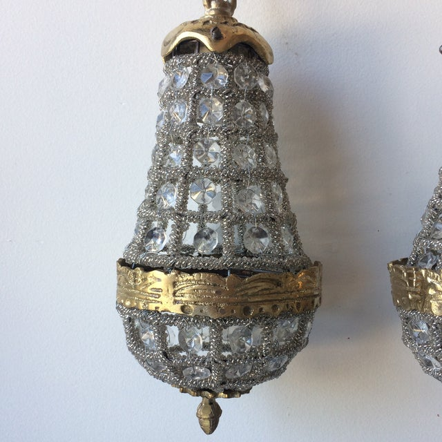 Art Nouveau Pair of French Miniature Empire Crystal Chandeliers For Sale - Image 3 of 7
