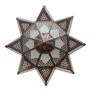 Moroccan Moorish Star Shape Frosted Glass Light Shade For Sale