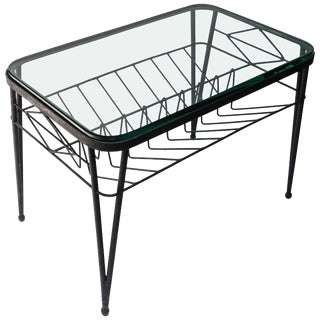 1960s Italian Rectangular Metal Side Table With Glass Top For Sale