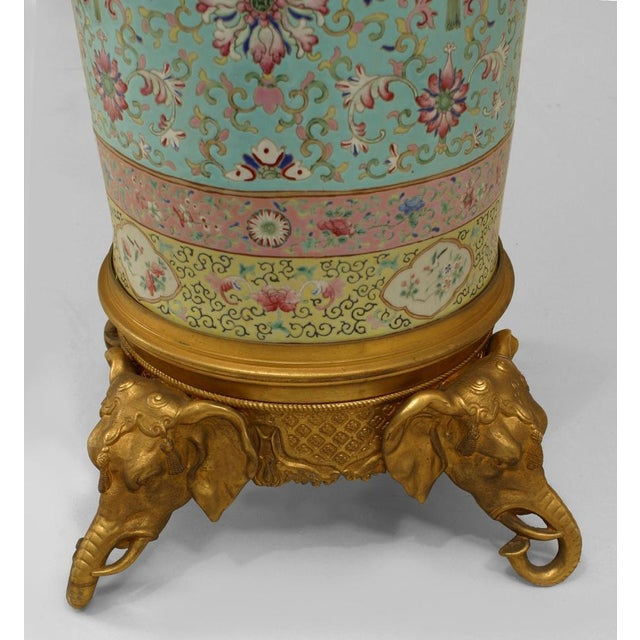 Pair of English Regency Style Turquoise Chinese Porcelain Pedestals For Sale - Image 4 of 11