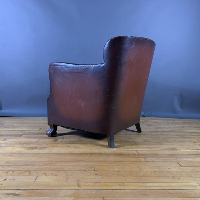 Early 1940s Danish Cognac Leather Club Chair, New Mohair For Sale - Image 9 of 10