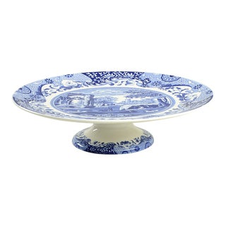 Spode Blue Italian Footed Serving Plate For Sale